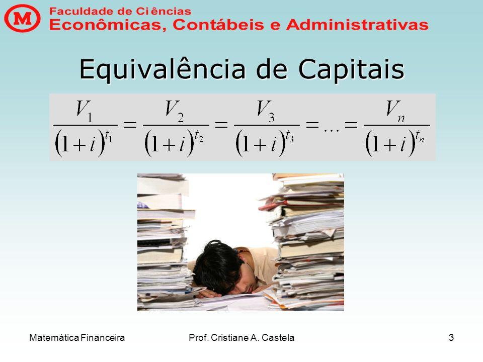 Matemática FinanceiraProf. Cristiane A. Castela3 Equivalência de Capitais