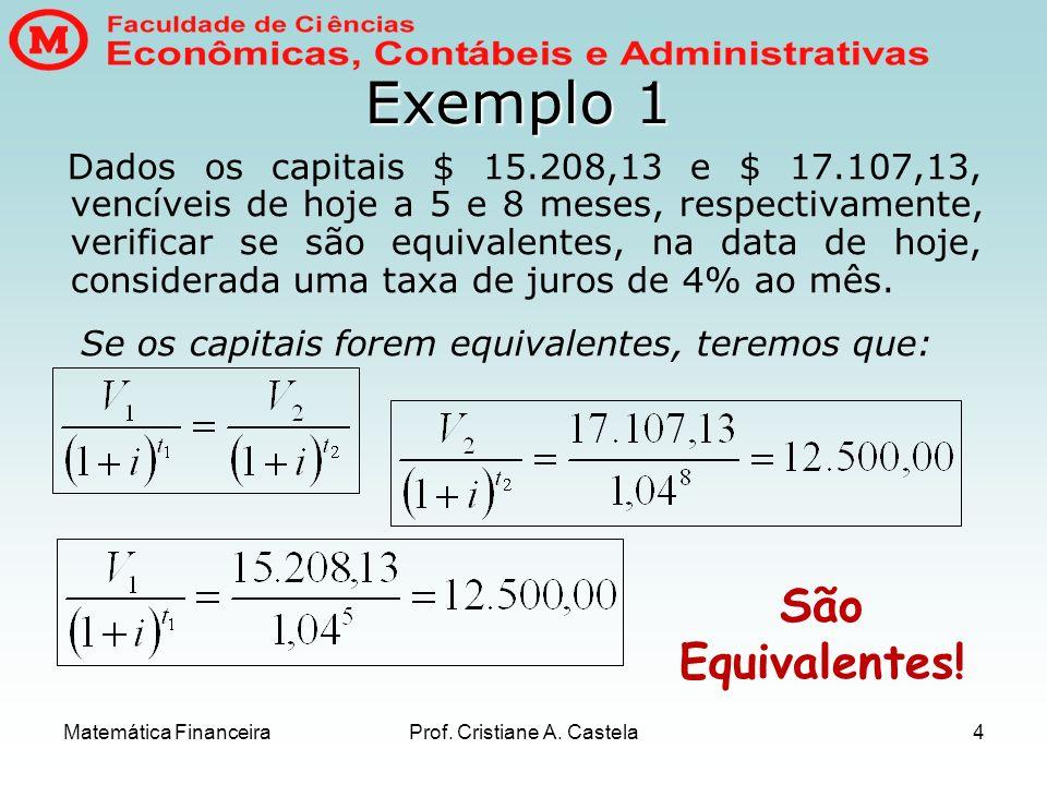 Matemática FinanceiraProf. Cristiane A. Castela4 Exemplo 1 Dados os capitais $ 15.208,13 e $ 17.107,13, vencíveis de hoje a 5 e 8 meses, respectivamen