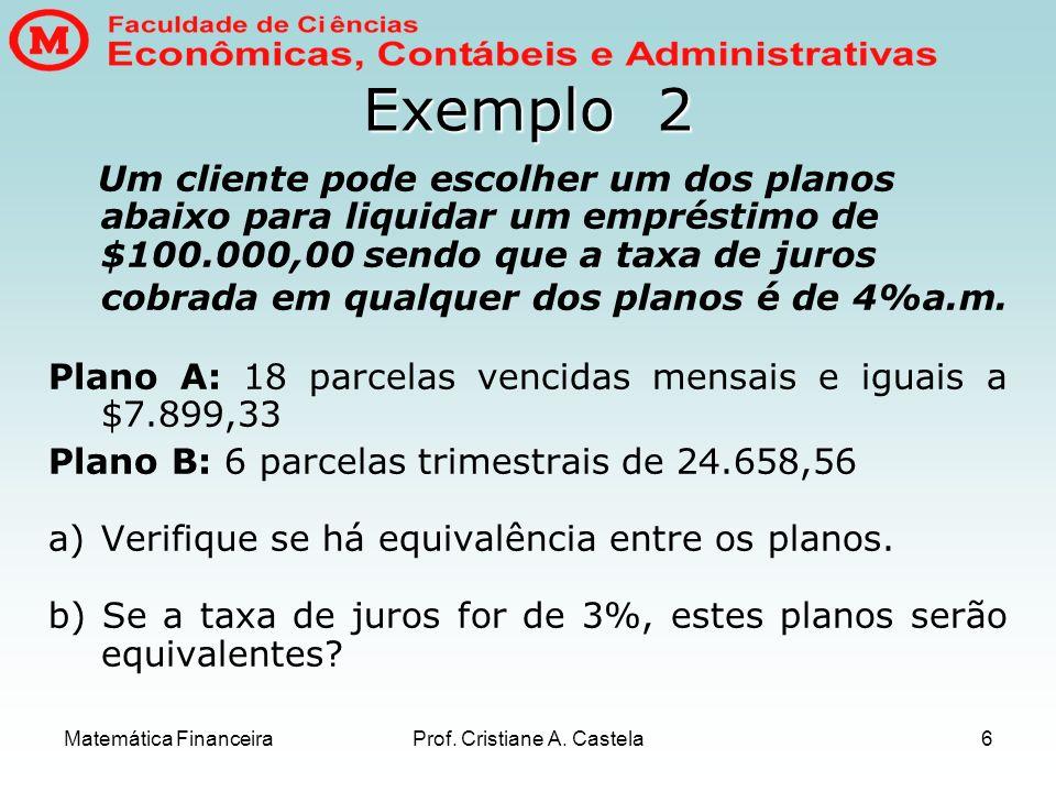 Matemática FinanceiraProf. Cristiane A. Castela6 Exemplo 2 Um cliente pode escolher um dos planos abaixo para liquidar um empréstimo de $100.000,00 se