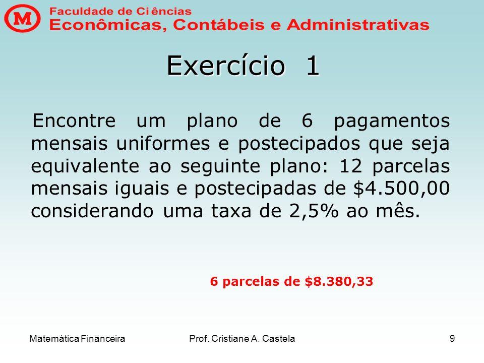 Matemática FinanceiraProf. Cristiane A. Castela9 Exercício 1 Encontre um plano de 6 pagamentos mensais uniformes e postecipados que seja equivalente a