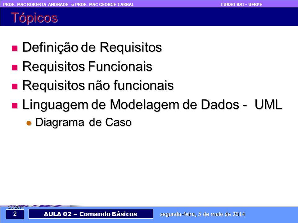 PROF. MSC ROBERTA ANDRADE e PROF. MSC GEORGE CABRAL CURSO BSI - UFRPE 2 segunda-feira, 5 de maio de 2014 AULA 02 – Comando Básicos 5/5/2014 Tópicos De