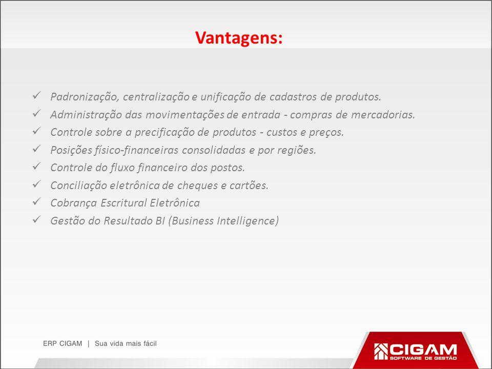 Vantagens: Padronização, centralização e unificação de cadastros de produtos. Administração das movimentações de entrada - compras de mercadorias. Con