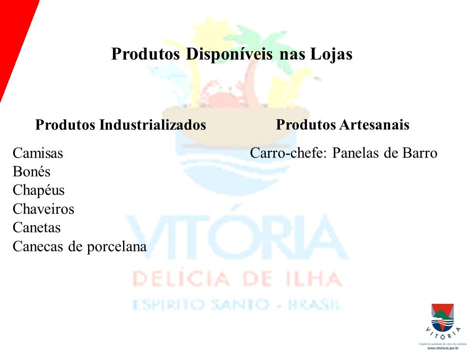 Produtos Disponíveis nas Lojas Produtos Industrializados Camisas Bonés Chapéus Chaveiros Canetas Canecas de porcelana Produtos Artesanais Carro-chefe: Panelas de Barro