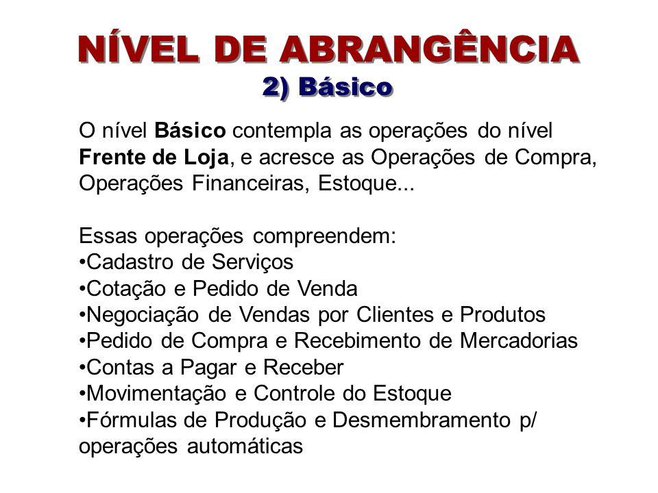 NÍVEL DE ABRANGÊNCIA 2) Básico O nível Básico contempla as operações do nível Frente de Loja, e acresce as Operações de Compra, Operações Financeiras, Estoque...