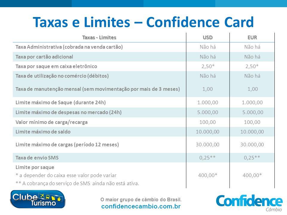 O maior grupo de câmbio do Brasil. confidencecambio.com.br Taxas e Limites – Confidence Card Taxas - Limites USDEUR Taxa Administrativa (cobrada na ve