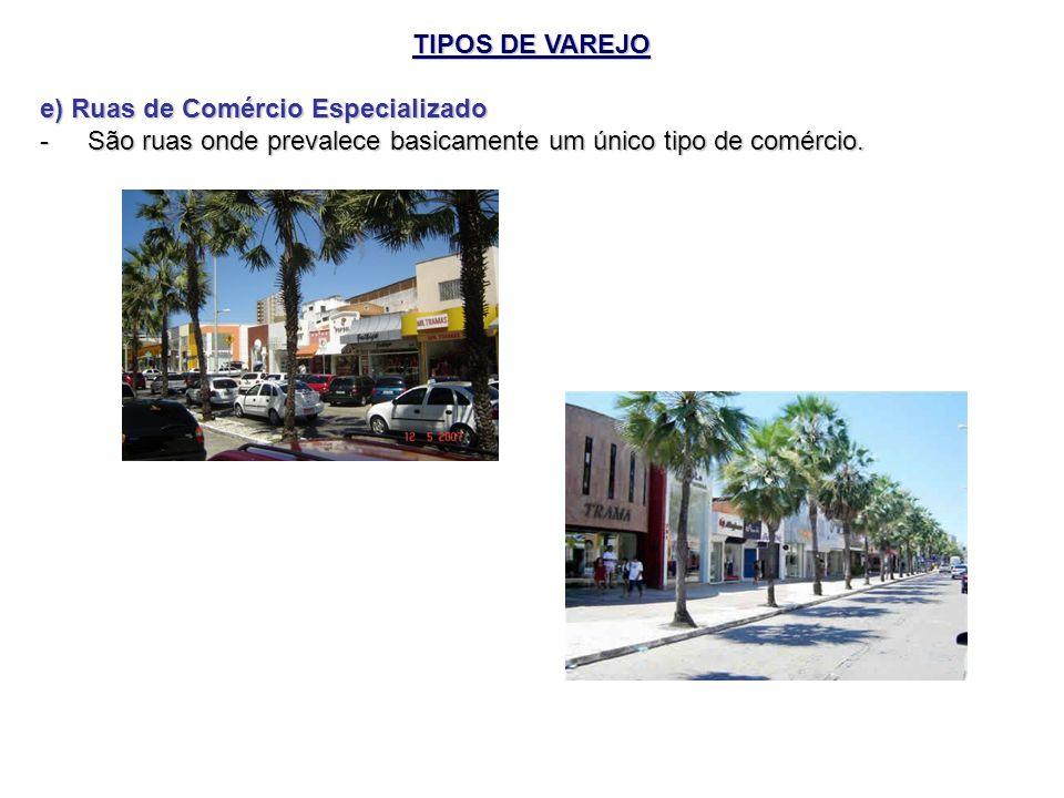 TIPOS DE VAREJO e) Ruas de Comércio Especializado - São ruas onde prevalece basicamente um único tipo de comércio.