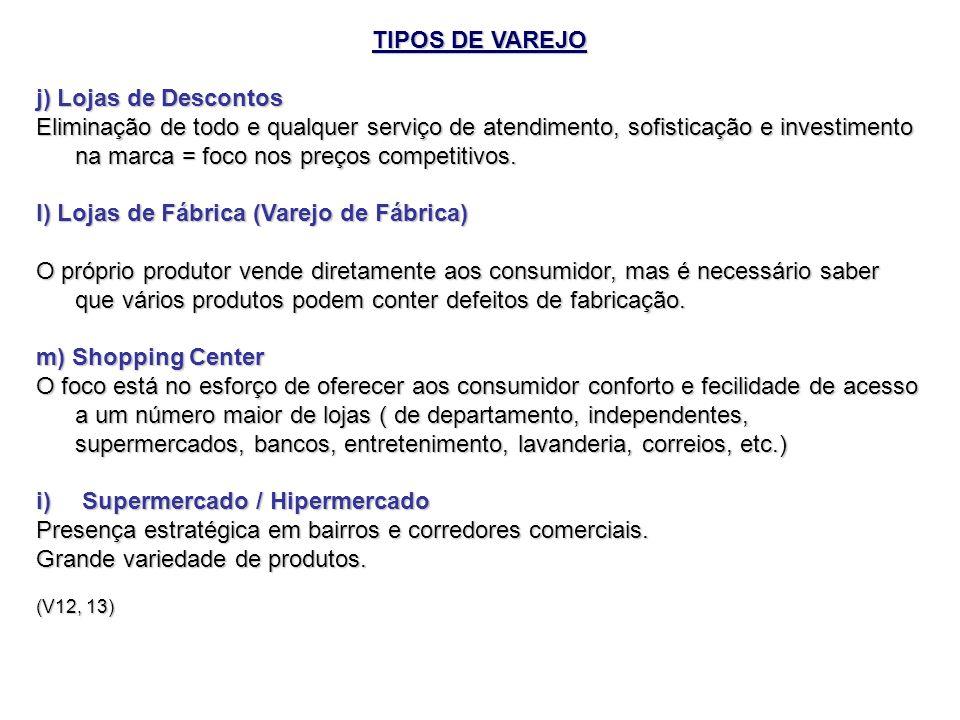 TIPOS DE VAREJO j) Lojas de Descontos Eliminação de todo e qualquer serviço de atendimento, sofisticação e investimento na marca = foco nos preços com