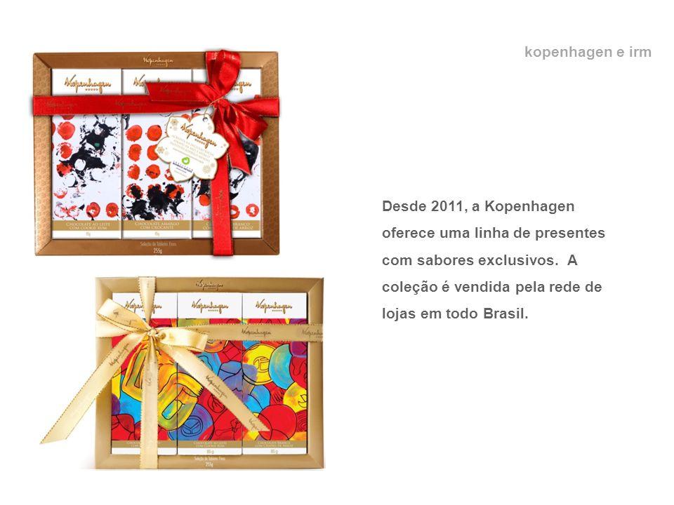 kopenhagen e irm Desde 2011, a Kopenhagen oferece uma linha de presentes com sabores exclusivos. A coleção é vendida pela rede de lojas em todo Brasil