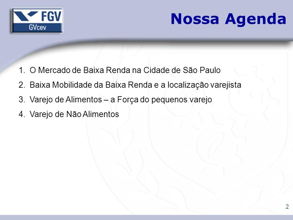 2 Nossa Agenda 1.O Mercado de Baixa Renda na Cidade de São Paulo 2.Baixa Mobilidade da Baixa Renda e a localização varejista 3.Varejo de Alimentos – a
