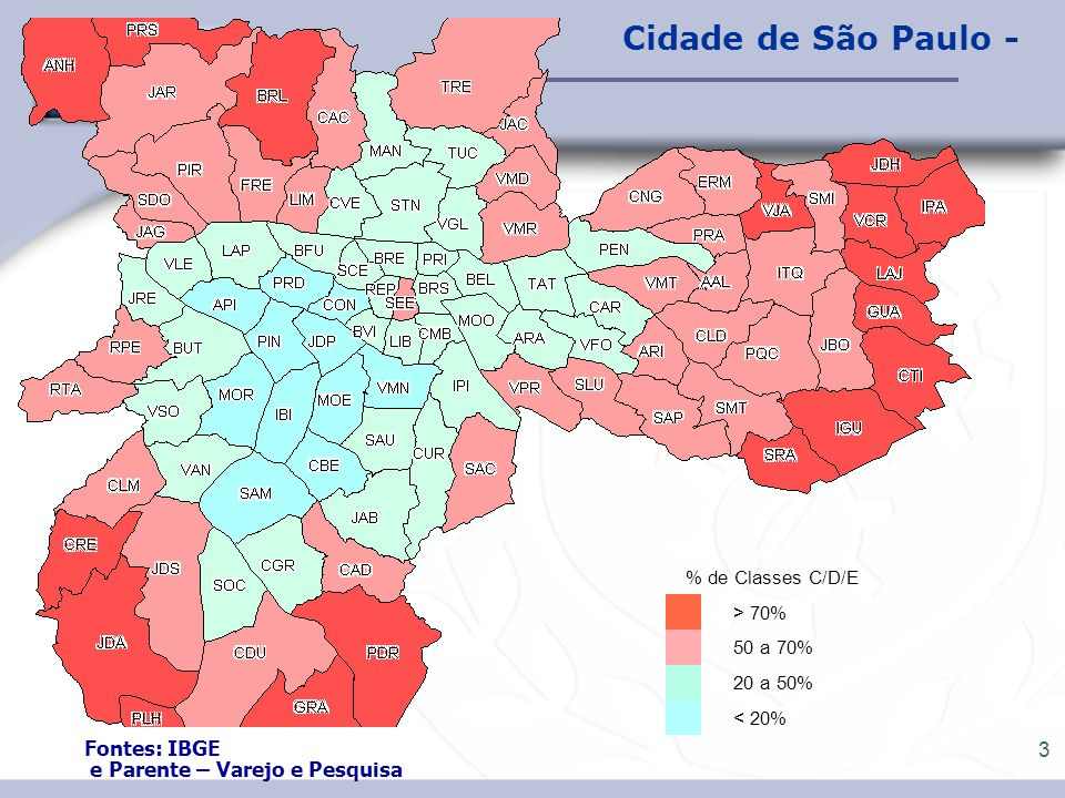 4 São Paulo: Comparativo em amostra selecionada de Distritos Fonte: IBGE