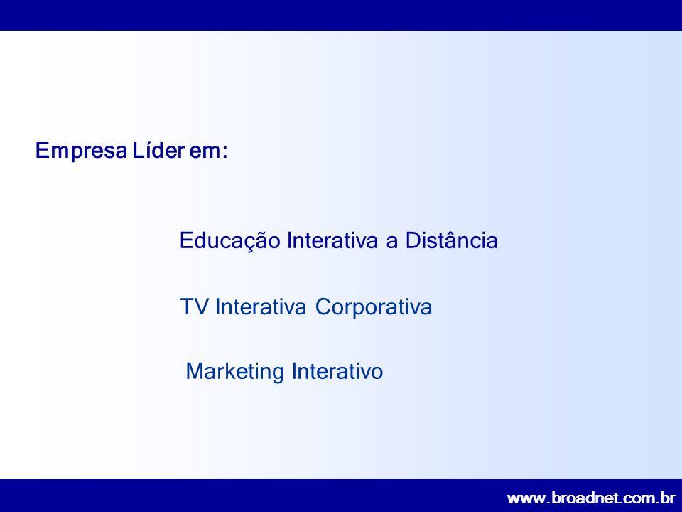 www.broadnet.com.br 4 anos em operação 300 pontos no Brasil (270 Lojas e 30 Acomac´s) 09 Canais de Profissionais 21 Programas interativos 36 horas semanais de programação 54.000 matrículas 28.000 profissionais treinados Tele-salas RIC Case – Varejo Materiais de Construção Rede Interativa Construção