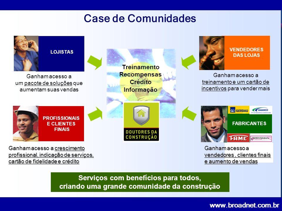 www.broadnet.com.br Ganham acesso a um pacote de soluções que aumentam suas vendas LOJISTAS VENDEDORES DAS LOJAS Ganham acesso a treinamento e um cartão de incentivos para vender mais Ganham acesso a crescimento profissional, indicação de serviços, cartão de fidelidade e crédito PROFISSIONAIS E CLIENTES FINAIS FABRICANTES Treinamento Recompensas Crédito Informação Serviços com benefícios para todos, criando uma grande comunidade da construção Ganham acesso a vendedores, clientes finais e aumento de vendas Case de Comunidades