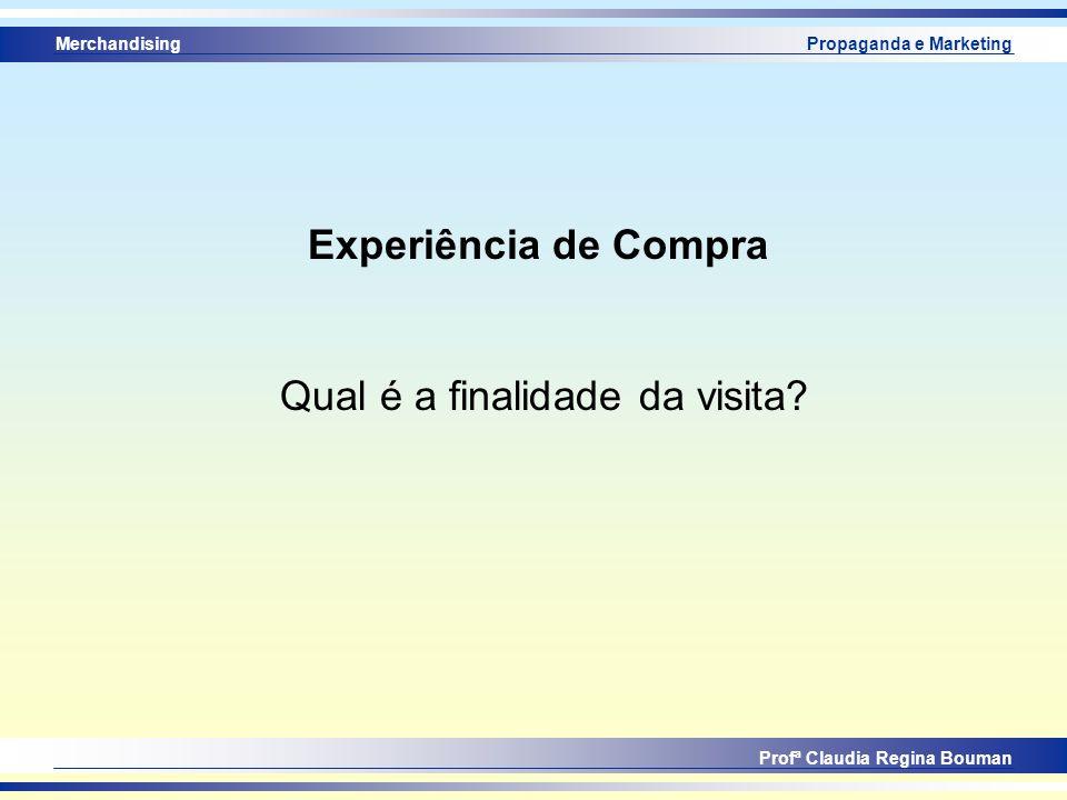 Merchandising Profª Claudia Regina Bouman Propaganda e Marketing Experiência de Compra Qual é a finalidade da visita?
