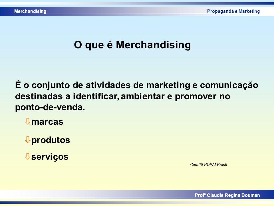 Merchandising Profª Claudia Regina Bouman Propaganda e Marketing É o conjunto de atividades de marketing e comunicação destinadas a identificar, ambie
