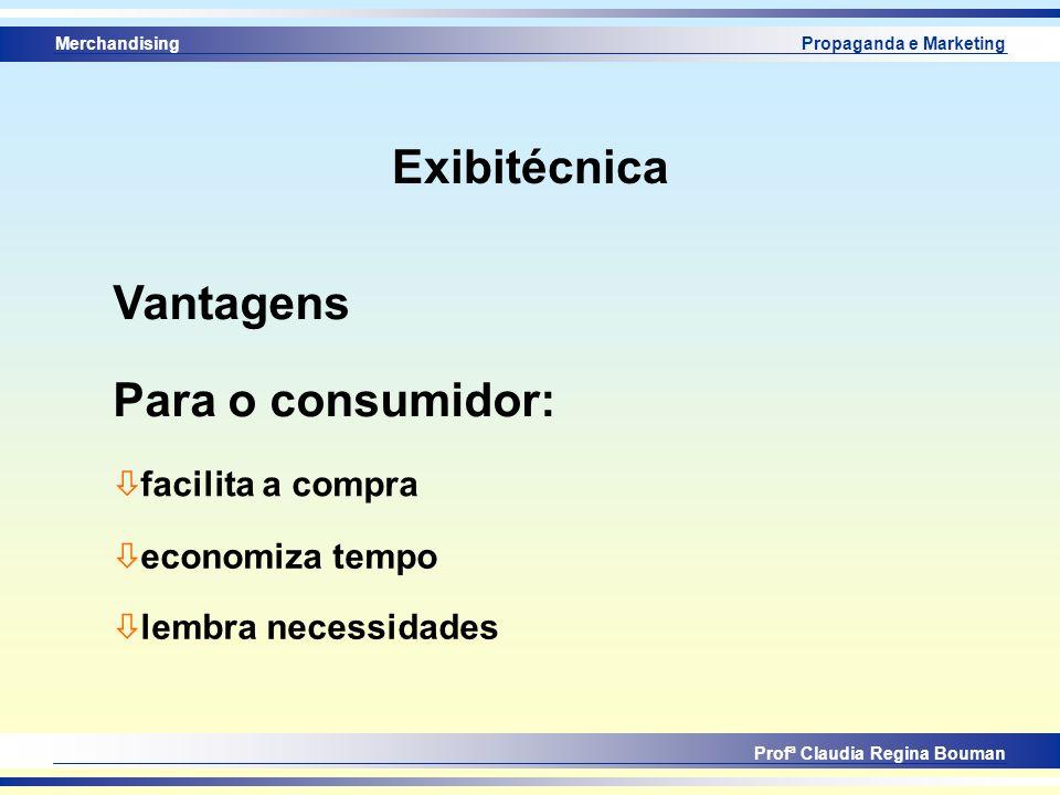 Merchandising Profª Claudia Regina Bouman Propaganda e Marketing Exibitécnica Vantagens ò facilita a compra Para o consumidor: ò economiza tempo ò lem