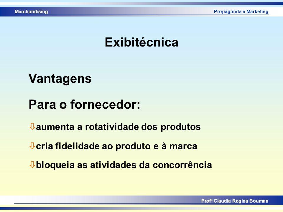 Merchandising Profª Claudia Regina Bouman Propaganda e Marketing Exibitécnica Vantagens ò aumenta a rotatividade dos produtos Para o fornecedor: ò cri