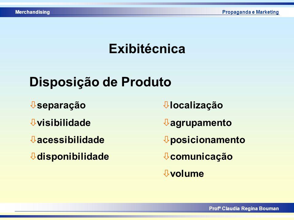Merchandising Profª Claudia Regina Bouman Propaganda e Marketing Exibitécnica Disposição de Produto ò separação ò visibilidade ò acessibilidade ò disp