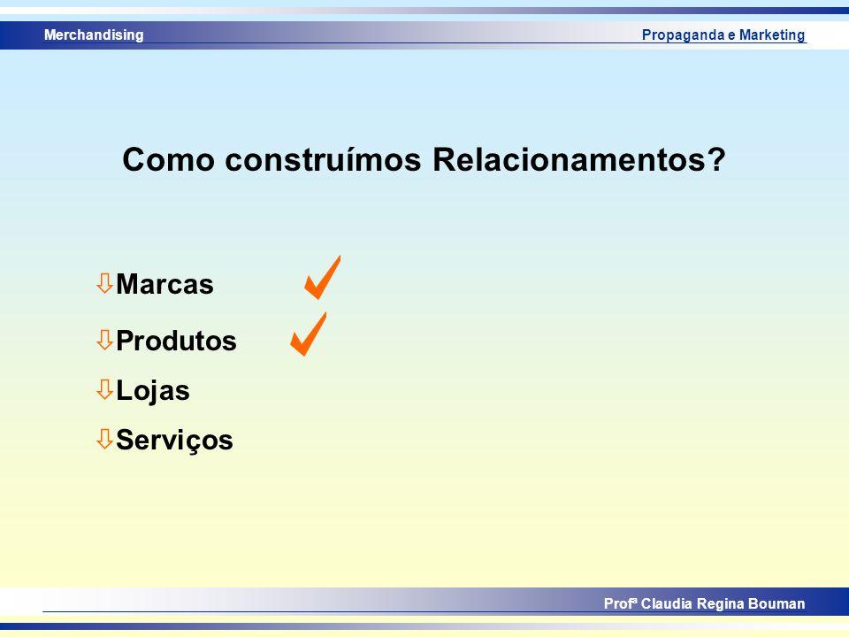 Merchandising Profª Claudia Regina Bouman Propaganda e Marketing Como construímos Relacionamentos? ò Marcas ò Produtos ò Lojas ò Serviços