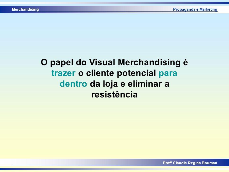 Merchandising Profª Claudia Regina Bouman Propaganda e Marketing O papel do Visual Merchandising é trazer o cliente potencial para dentro da loja e el