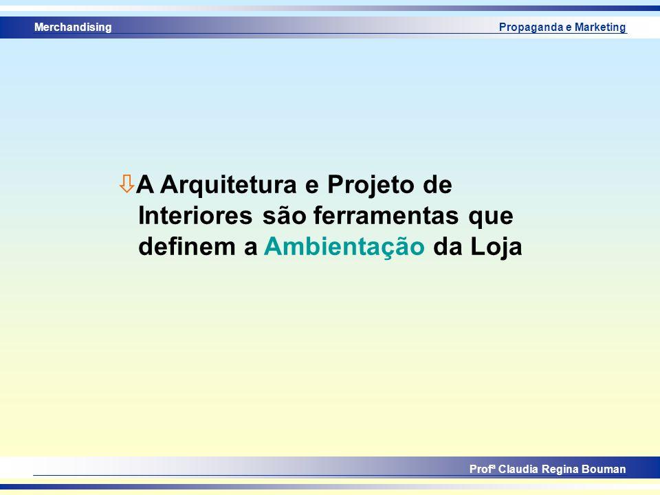 Merchandising Profª Claudia Regina Bouman Propaganda e Marketing ò A Arquitetura e Projeto de Interiores são ferramentas que definem a Ambientação da