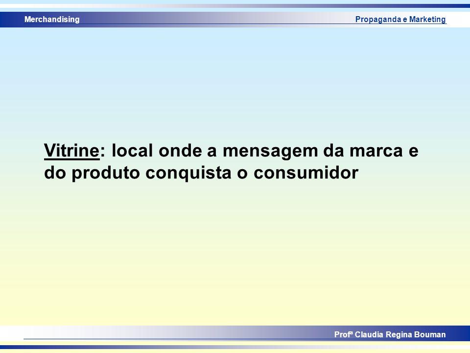 Merchandising Profª Claudia Regina Bouman Propaganda e Marketing Vitrine: local onde a mensagem da marca e do produto conquista o consumidor