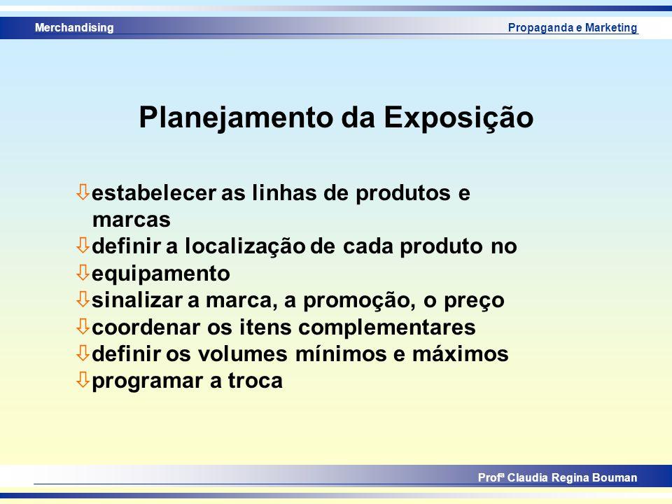 Merchandising Profª Claudia Regina Bouman Propaganda e Marketing Planejamento da Exposição ò estabelecer as linhas de produtos e marcas ò definir a lo