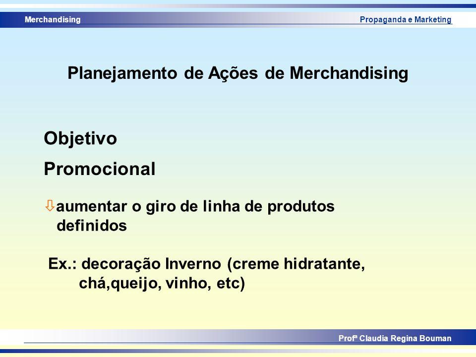 Merchandising Profª Claudia Regina Bouman Propaganda e Marketing Promocional Objetivo ò aumentar o giro de linha de produtos definidos Ex.: decoração