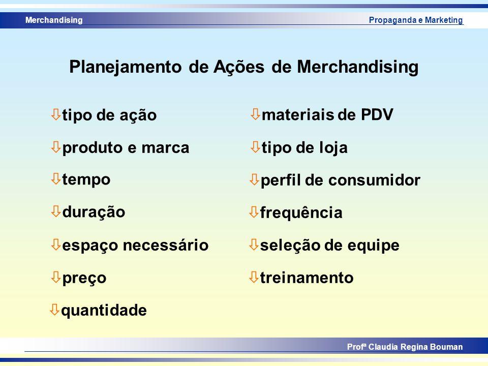 Merchandising Profª Claudia Regina Bouman Propaganda e Marketing ò produto e marca ò tempo ò duração ò espaço necessário ò preço ò materiais de PDV ò