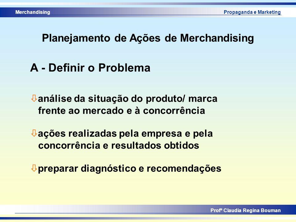 Merchandising Profª Claudia Regina Bouman Propaganda e Marketing ò análise da situação do produto/ marca frente ao mercado e à concorrência ò ações re