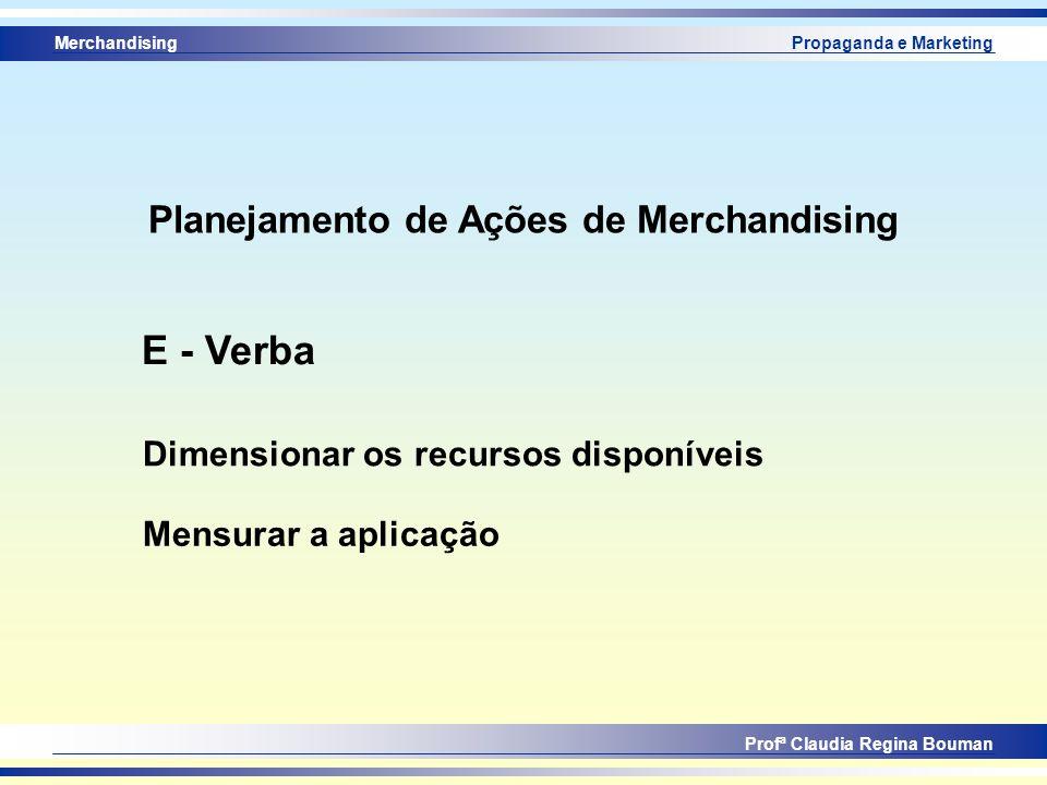 Merchandising Profª Claudia Regina Bouman Propaganda e Marketing Dimensionar os recursos disponíveis E - Verba Mensurar a aplicação Planejamento de Aç