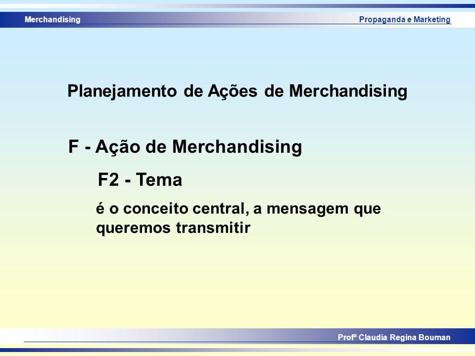 Merchandising Profª Claudia Regina Bouman Propaganda e Marketing F2 - Tema F - Ação de Merchandising é o conceito central, a mensagem que queremos tra