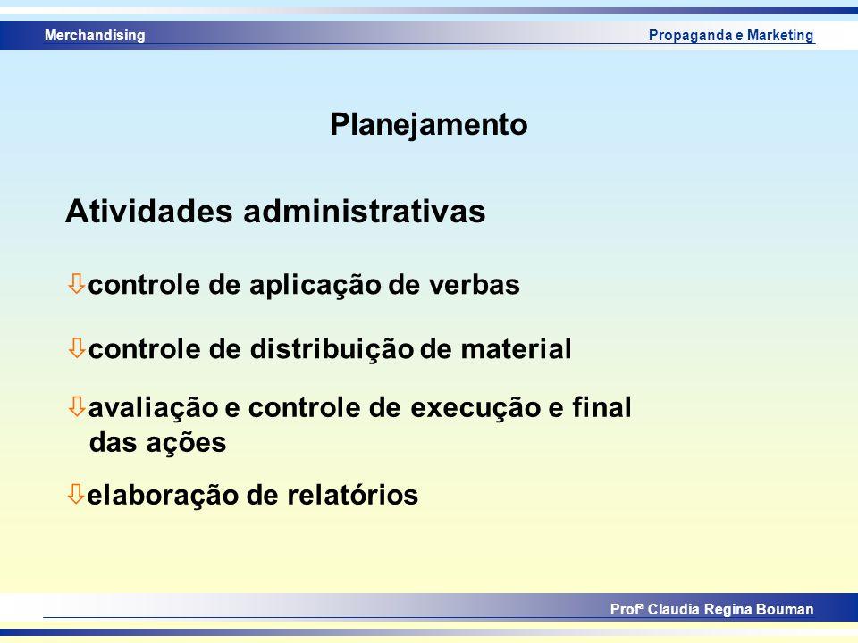 Merchandising Profª Claudia Regina Bouman Propaganda e Marketing Planejamento Atividades administrativas ò controle de aplicação de verbas ò controle
