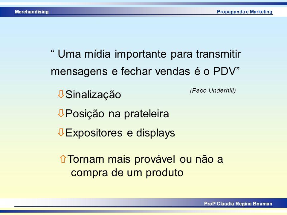 Merchandising Profª Claudia Regina Bouman Propaganda e Marketing ò Sinalização ò Posição na prateleira ò Expositores e displays Uma mídia importante p