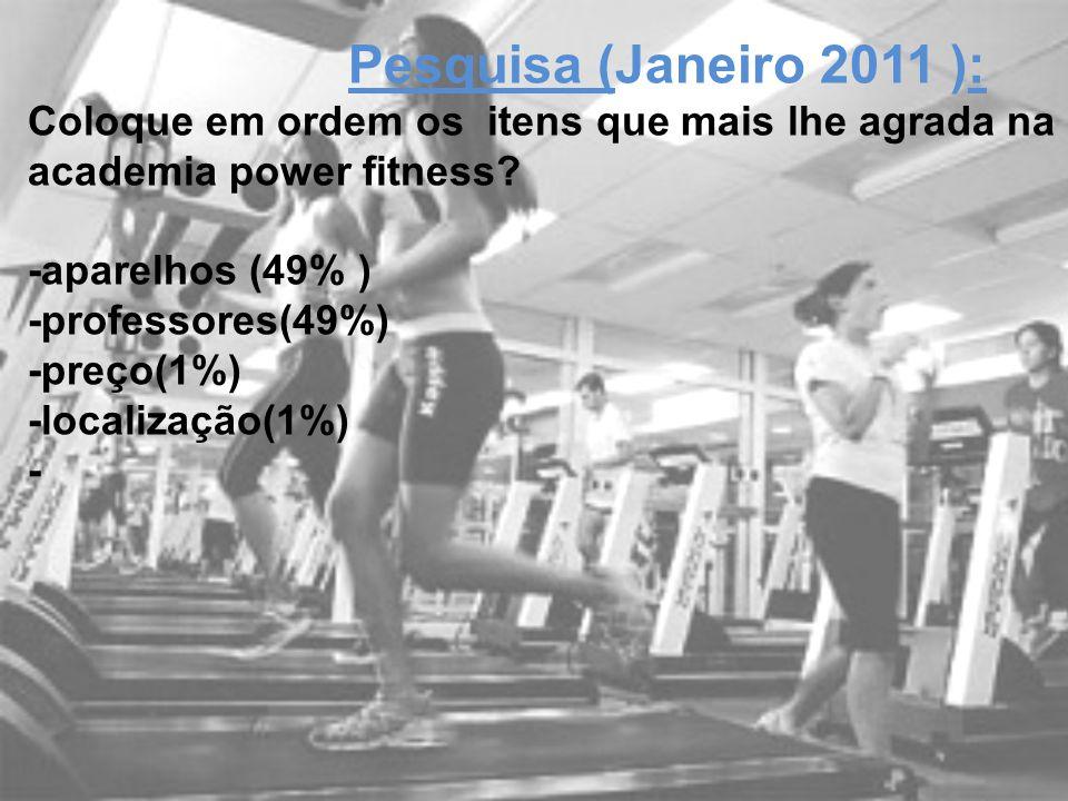 Young Fit Pesquisa (Janeiro 2011 ): Coloque em ordem os itens que mais lhe agrada na academia power fitness? -aparelhos (49% ) -professores(49%) -preç