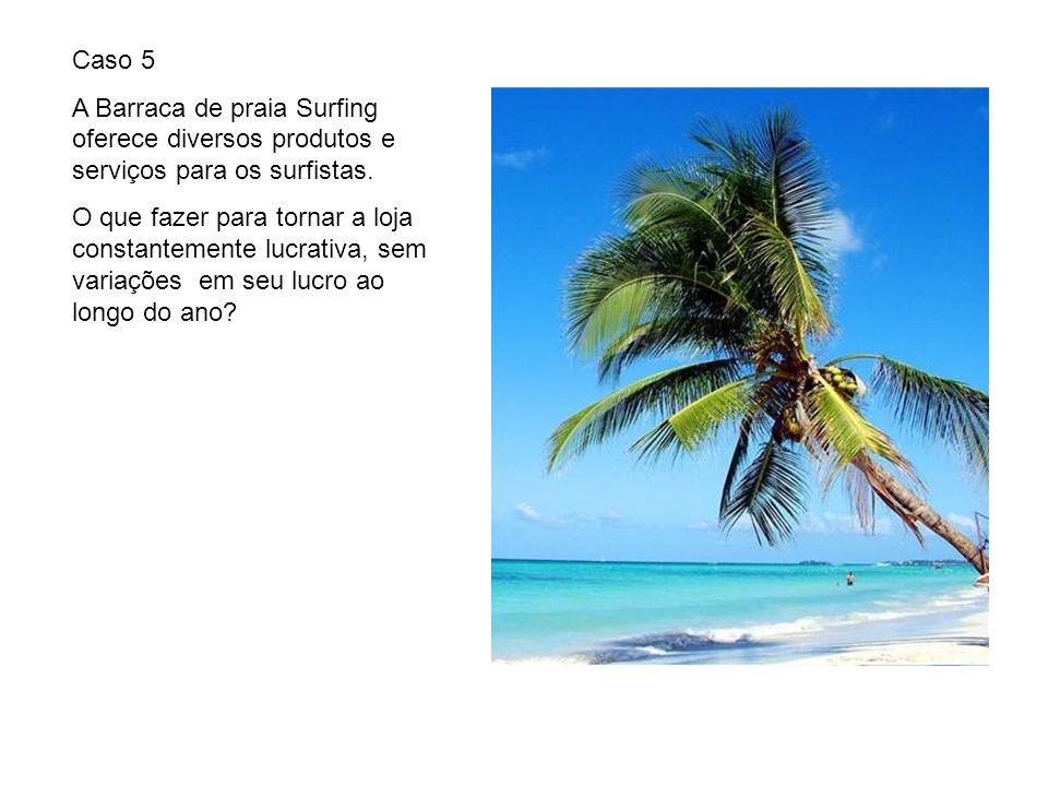 Caso 5 A Barraca de praia Surfing oferece diversos produtos e serviços para os surfistas. O que fazer para tornar a loja constantemente lucrativa, sem