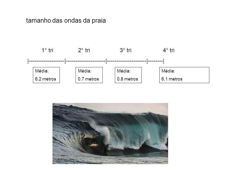 tamanho das ondas da praia 1° tri 2° tri 3° tri 4° tri 1° tri 2° tri 3° tri 4° tri |-------------------|---------------------|---------------------|--------| |-------------------|---------------------|---------------------|--------| Média: 6,2 metros Média: 0,7 metros Média: 0,8 metros Média: 6,1 metros