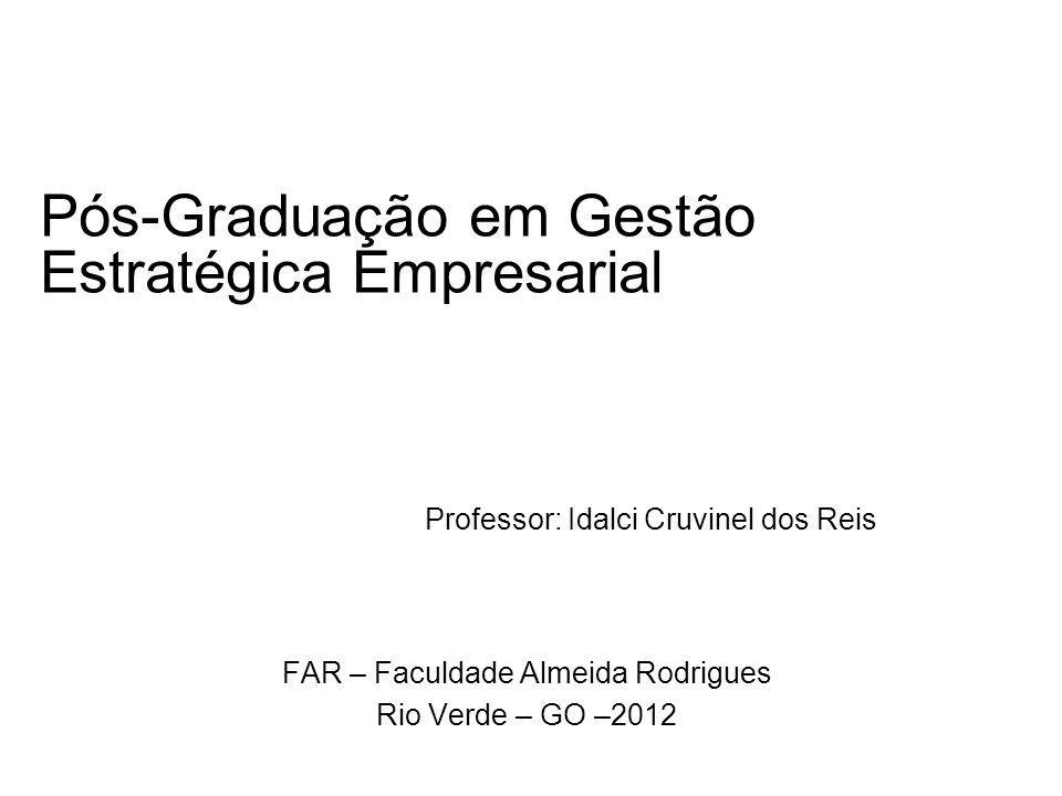 Pós-Graduação em Gestão Estratégica Empresarial FAR – Faculdade Almeida Rodrigues Rio Verde – GO –2012 Professor: Idalci Cruvinel dos Reis