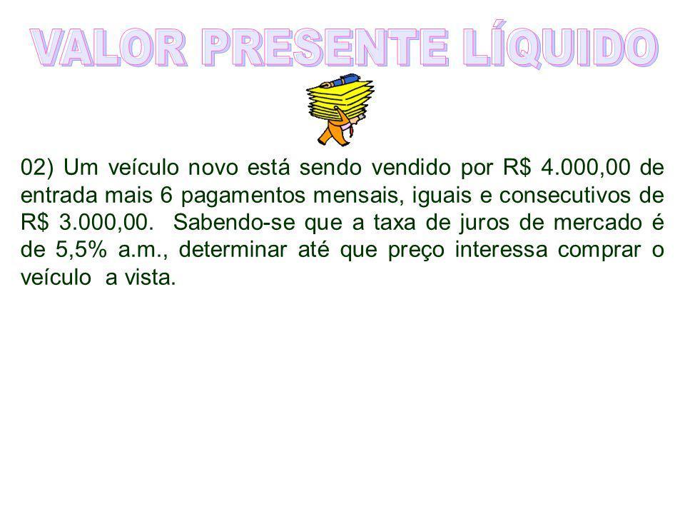 01) Um empréstimo de R$ 22.000,00 será liquidado em três prestações mensais e sucessivas de R$ 12.000,00, R$ 5.000,00 e R$ 8.000,00. Considerando uma