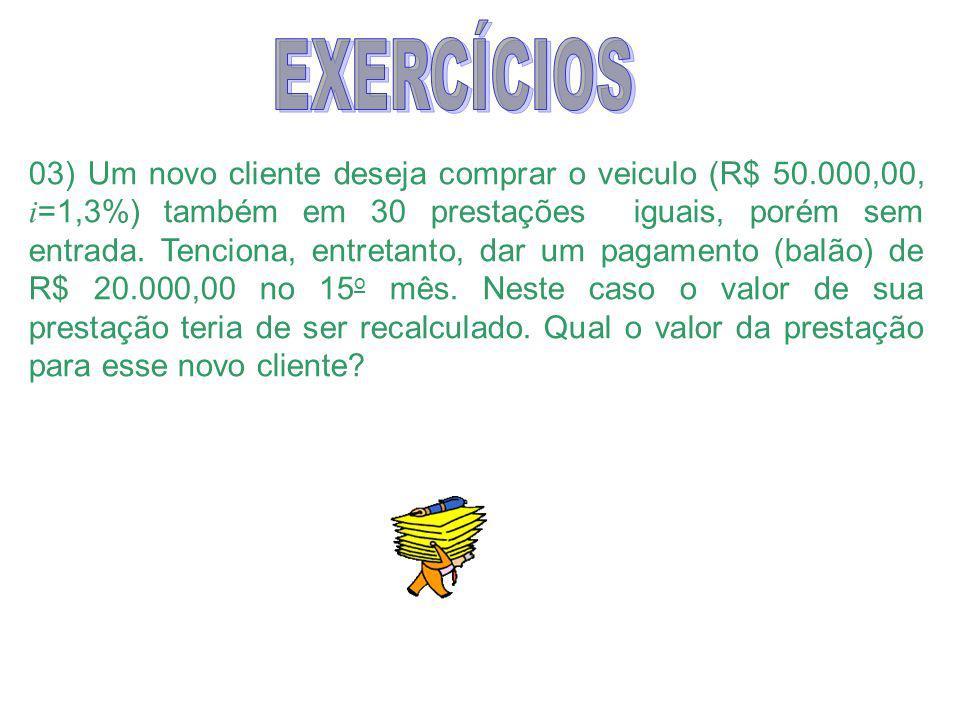03) Um novo cliente deseja comprar o veiculo (R$ 50.000,00, i =1,3%) também em 30 prestações iguais, porém sem entrada.
