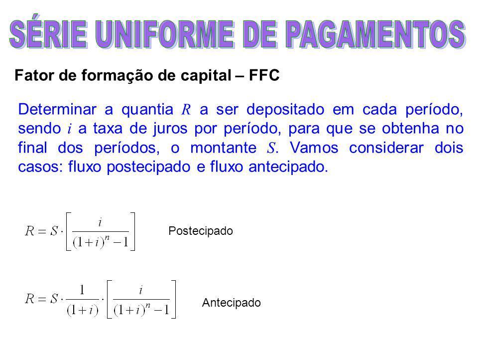Fator de formação de capital – FFC Determinar a quantia R a ser depositado em cada período, sendo i a taxa de juros por período, para que se obtenha no final dos períodos, o montante S.