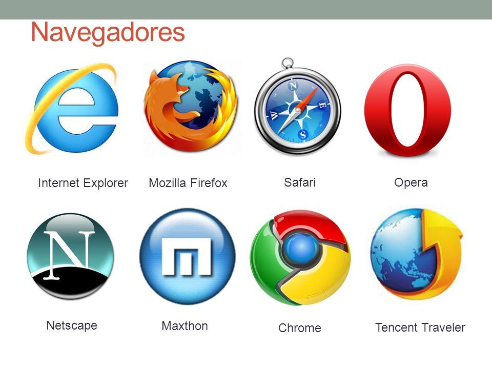 Navegadores Internet ExplorerMozilla Firefox SafariOpera Netscape Maxthon Chrome Tencent Traveler