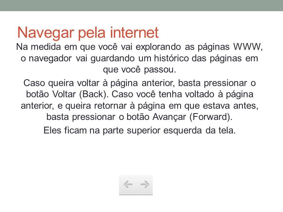 Navegar pela internet Na medida em que você vai explorando as páginas WWW, o navegador vai guardando um histórico das páginas em que você passou. Caso