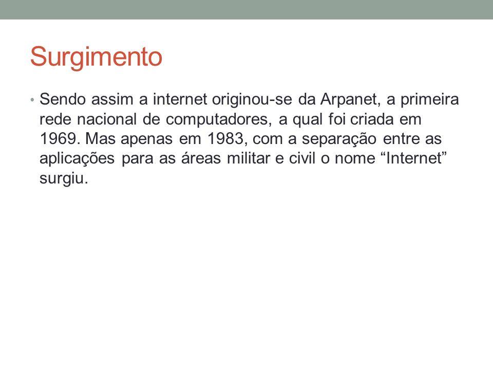 Surgimento Sendo assim a internet originou-se da Arpanet, a primeira rede nacional de computadores, a qual foi criada em 1969. Mas apenas em 1983, com