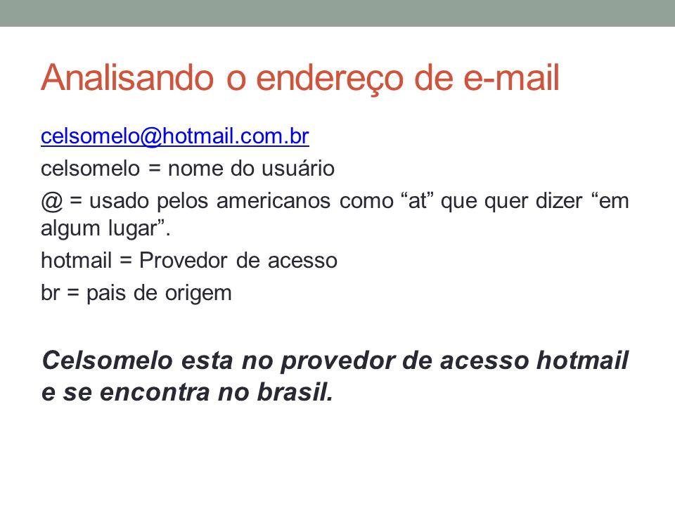 Analisando o endereço de e-mail celsomelo@hotmail.com.br celsomelo = nome do usuário @ = usado pelos americanos como at que quer dizer em algum lugar.
