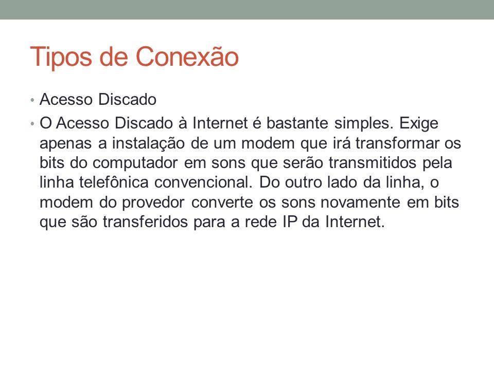 Tipos de Conexão Acesso Discado O Acesso Discado à Internet é bastante simples. Exige apenas a instalação de um modem que irá transformar os bits do c