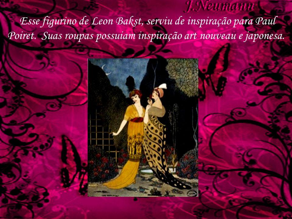 Esse figurino de Leon Bakst, serviu de inspiração para Paul Poiret. Suas roupas possuiam inspiração art nouveau e japonesa.