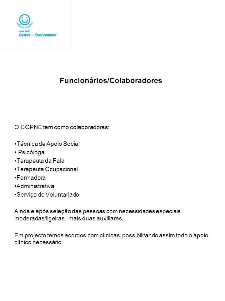 Funcionários/Colaboradores O COPNE tem como colaboradoras: Técnica de Apoio Social Psicóloga Terapeuta da Fala Terapeuta Ocupacional Formadora Adminis