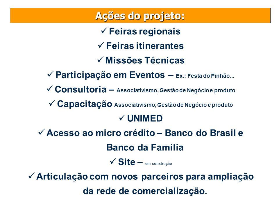 Ações do projeto: Feiras regionais Feiras itinerantes Missões Técnicas Participação em Eventos – Ex.: Festa do Pinhão... Consultoria – Associativismo,