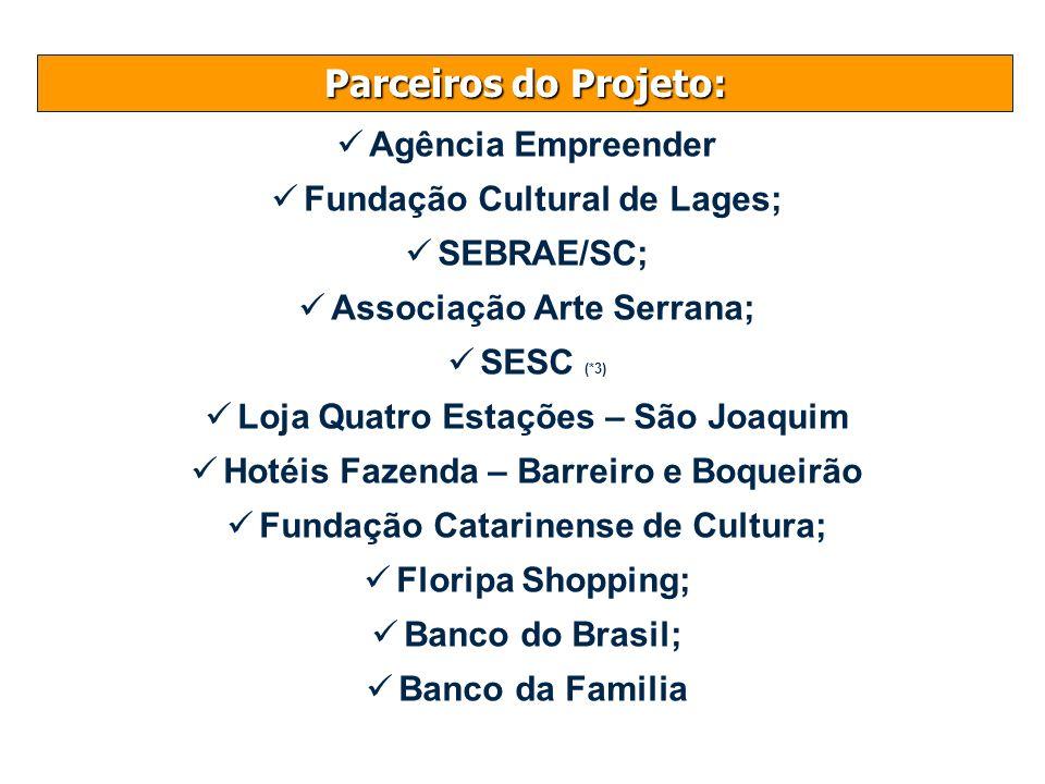 Parceiros do Projeto: Agência Empreender Fundação Cultural de Lages; SEBRAE/SC; Associação Arte Serrana; SESC (*3) Loja Quatro Estações – São Joaquim