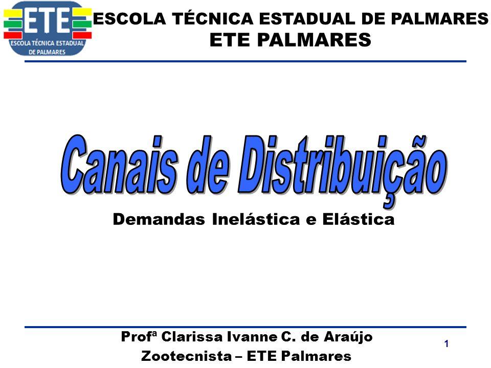 1 Profª Clarissa Ivanne C. de Araújo Zootecnista – ETE Palmares ESCOLA TÉCNICA ESTADUAL DE PALMARES ETE PALMARES Demandas Inelástica e Elástica